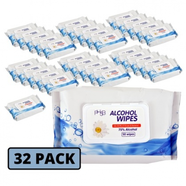 Disinfectant Wipes, 75 Percent Alcohol, 32 Packs/Carton